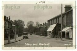 Old Postcard College Road Cheshunt Herts Note Shops Real Photo Vintage 1920s