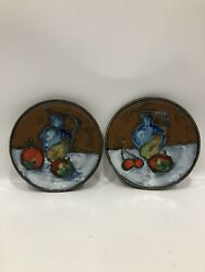 Set Of 2 Vintage GASES Ceramic Wall Hanging Plates Made In Spain Hand Painted