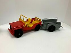 Marx Willys Jeep With Lights And Trailer, Vintage 11950s With Box