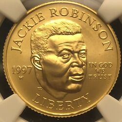 1997 W Jackie Robinson Gold 5 .2419 Oz. Ngc Ms69. Flawless Coin And Slab