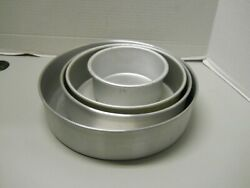 Wilton And Fat Daddios 6 9 10 And 12 Round 3 Cake Pans Aluminum Steel Lot Of 4