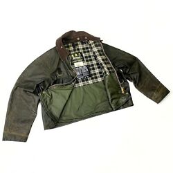 Rare Men's Vintage Barbour A130 Spey Jacket Waxed Green Jacket Wax Coat Size L