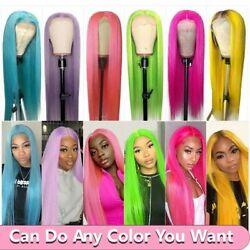 Colored Human Hair Wigs Straight Pre Plucked 13x4 Lace Front Wig Transparent Wig