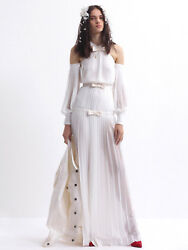 Alessandra Rich 2465 Pleated Silk Off Shoulder Bow Gown Wedding Dress 44 New