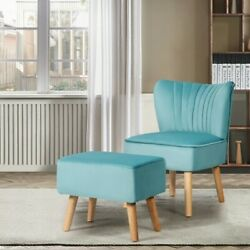 Leisure Chair And Ottoman Thick Padded Velvet Tufted Sofa Set W/ Wood Legs Green