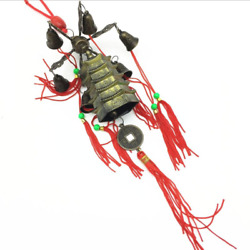 Chinese Feng Shui Hanging Bell Luck Wealth Wind Chime Dragon Tower Coin Amulet
