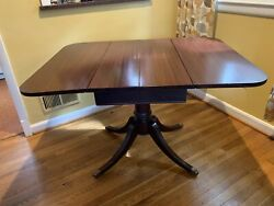 Antique Drop Leaf Mahogany Sheraton Table With Hidden Leaf