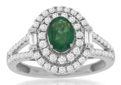 1.26ct Diamond And Aaa Emerald 14kt White Gold 3d Oval Double Halo Engagement Ring