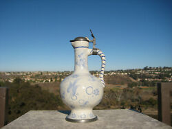 Vintage Faience Traditional Bavarian Hand Painted Stein Pitcher Germany
