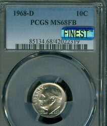 1968-d Roosevelt Dime Pcgs Mac Ms68 Fb Pq Finest Registry And Spotless Rare