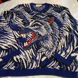 Sweater Wolf Embroidery Blue System Mens Knit Size L