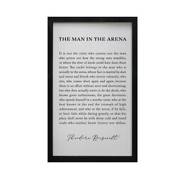 Family Hanging Quote Sign The Man In The Arena 12x18 Wooden Framed Shadow Box