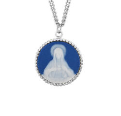Blue Immaculate Heart Of Mary Cameo Medal Sterling Silver Pendant Necklace
