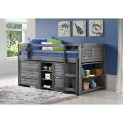 Taylor And Olive Dardanelle Grey Wood Twin Low Loft Bed