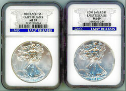 2009 American Silver Eagle Dollar 1 Ngc Ms69 Early Release Lot Of 2 Coins