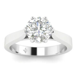 1.02ct F-si2 Diamond Round Engagement Ring 14k White Gold Any Size