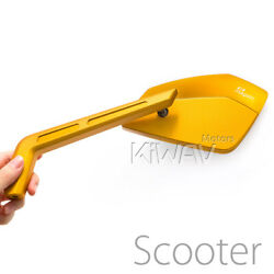 Magazi Mirrors Cnc Aluminum Sharp Look Cleaver Gold 8mm Scooter Motorcycle Andepsilon