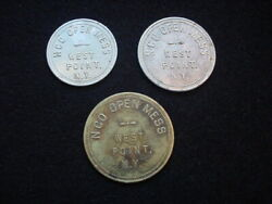 West Pint, New York Three Nco Open Mess Tokens, 25 And 50 Cents And 1.00