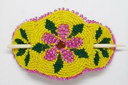 Native American Zuni Indian Beaded Hair Barrette Yellow Pink Colorful