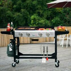 Portable Flat Top Grill Propane Gas Griddle Combo Outdoor Folding Legs 4 Burner