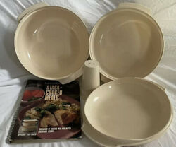Tupperware Microwave Stack Cooker System 4 Pieces Almond Plus Cookbook