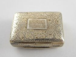Lovely Antique William Iv Solid Sterling Silver Vinaigrette Thomas Shaw 1834