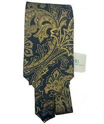 New Nwt London 100 Silk Neck Tie Gold And Black Floral Nyc Exclusive