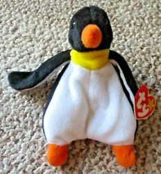 Rare New Ty Beanie Baby Penguin Waddle With Tag Errors And 2 Tush Tags