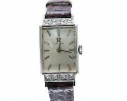 Omega Hand-wound Watch With Diamond Cal245 Vintage Brown Silver Secondhand