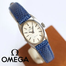 Cute Omega K14wg Purity Antique Watches 70 Women 's Wristwatch Mini Oval Leather