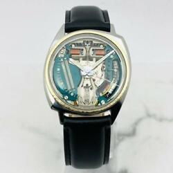 Bulova Accutron Spaceview 214 M7 Gold Menand039s Watch Vintage Black Leather Band
