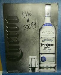 2014 Jose Cuervo Especial Tequila Silver Have A Story Tin Bottle Glass Bar Sign