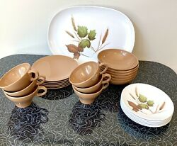 Texas Ware Lot Melmac Melamine 6 Bowls 6 Cups And Saucers Serving Platter Mcm