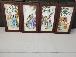 Modern Vintage Chinese Painting On Porcelain Wood Framed Set Of 4 Wall Hang