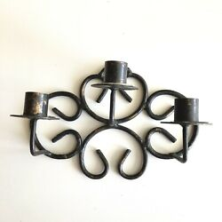 Antique Vintage Wrought Iron 3 Candle Holder Hanging Wall Sconce