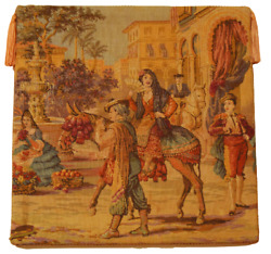 Antique Tapestry Aubusson Style Spanish Market Wall Hanging 18quot; x 18quot;