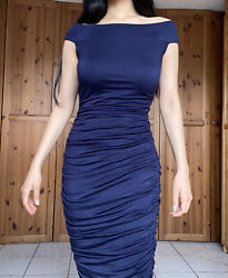 Nordstrom Bailey 44 navy blue ruched dress off the shoulder Midi Size Small $23.50