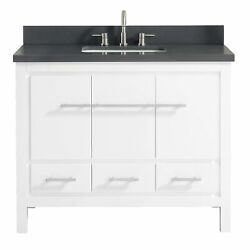 Azzuri Riley 43 In. Bathroom Vanity With Quartz Top And Sink White W/ Gray Top 4