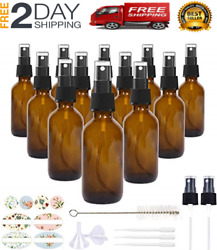 Amber Glass Spray Bottles With Fine Mist Sprayers For Essential Oils 2oz 2 Pack