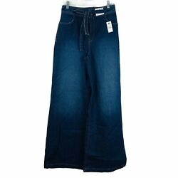 Express Womenand039s Wide Legs Jeans Blue High Rise Stretch Size 6r New W/ Tag 80
