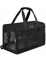 Mancro Pet Carrier Airline Approved Soft-sided Travel Bag For Cats Black