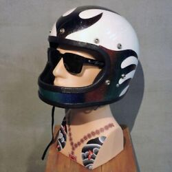 Vintage Helmet Safetech 70's Multicolor 62cm Repaired From Japan Used