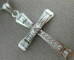 Estate Large 1.35ct Round And Baguette Diamond 14kt White Gold Cross Pendant 15977