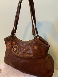 Lucky Brand Brown 100% ITALIAN LAMB LEATHER Over Shoulder Hand Bag Purse Brown $65.00
