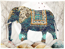 Elephant Forest Moon TapestryTrippy Hippie Boho Indie Aesthetic Wall TapestryH