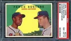 1959 Topps 212 Fence Busters Hank Aaron Psa 8 High End Centered And Sharp