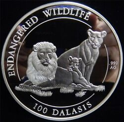 1996 The Gambia Pride Of Lions Kilogram .999 Silver Round S/n 26/1000 Jn151
