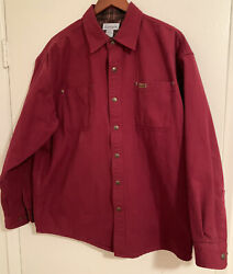 Flannel Lined Canvas Shirt Jacket Size Large Red/maroon Snaps S96dk