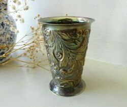 Vintage Small Danish Rococo Style Repousse Silver Plated Spill Vase Pen Pot