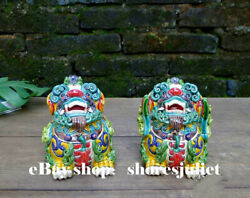 Chinese Pottery Wucai Porcelain Coin Evil Guardian Lion Foo Fu Dog Statue Pair A